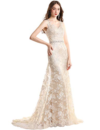 YSMei Womens Illusion Back V Neck Mermaid Wedding Dress for Bride Lace Formal Gown with Train Champagne 04