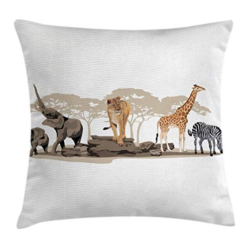 - Ambesonne Safari Throw Pillow Cushion Cover, Illustration of Wild Savannahs African Animals Exotic Giraffe Lion Elephant Zebra, Decorative Square Accent Pillow Case, 16 X 16 Inches, Multicolor