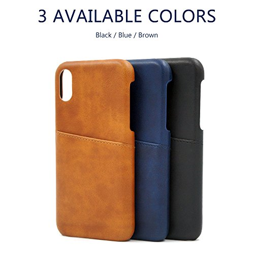 Buruis iPhone X Slim Card Case, Premium PU Leather Shockproof Wallet Case with Credit Card Slot Holder for Apple iPhone X (Blue) by Buruis (Image #7)