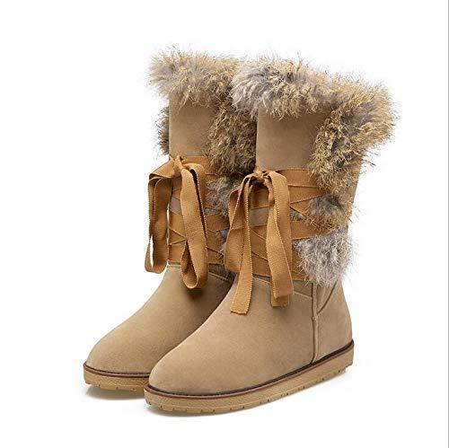 HhGold Damen Plüsch Schneestiefel Winter Baumwolle Verdicken Warme Schuhe Für Frauen Hochwertige Matte Stiefel,schwarz,40(Suitablefor39) (Farbe   Aprikose, Größe   39(suitablefor38))