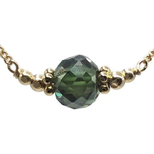 1.80 Carat Antique Diamond Necklace | Emerald Green Gemstone Handmade Designer Unique Fine Jewelry Gifts ()