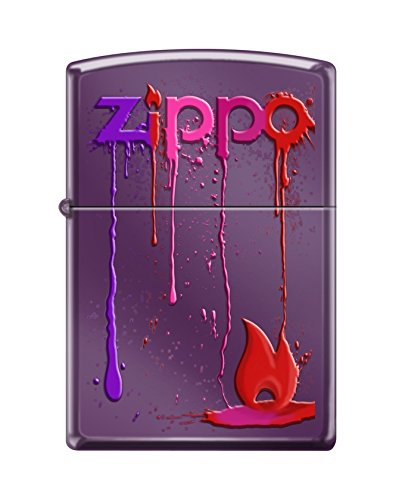 Zippo Custom Lighter Design Dripping Colors with Red Flame Windproof Collectible - Cool Cigarette Lighter Case Made in USA Limited Edition & Rare