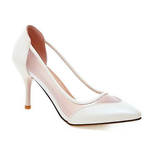 AllhqFashion Damen Ziehen auf Spitz Zehe Stiletto Blend-Materialien Rein Pumps Schuhe Weiß