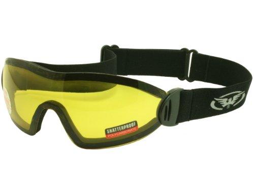 Gelb getönt Splitterfrei UV400 Skydiving / Freefall und Fallschirmspringen Goggles und Free Mikrofaser Aufbewahrungstasche