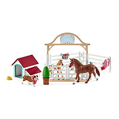 Schleich Horse Club Hannah's Guest Horses with Ruby the Dog 20-piece Educational Playset for Kids Ages 5-12: Toys & Games