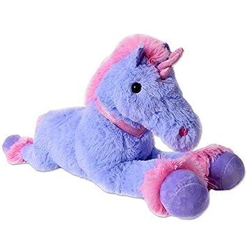 TE-Trend XXL Unicornio Peluche Animal De Felpa Caballo Peluche Tumbado 80cm Lila Fucsia Cuerno