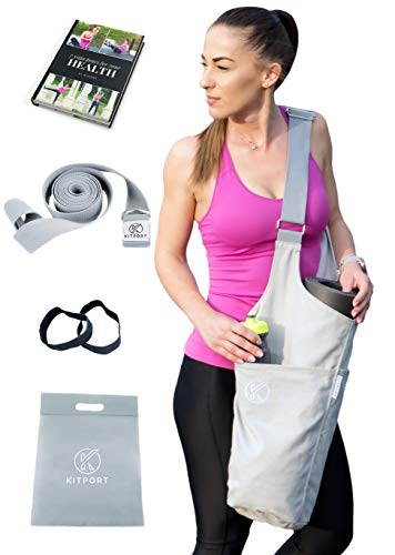 KITPORT Yoga Mat Bag | Kit Exercises Strap + Elastic Mat Bands + Polybag + eBook | 360 Large Side & Zipper Pockets Carrier | Adjustable Shoulder Strap for Women & Men Tote Sling | Fits Most Size Mats Review