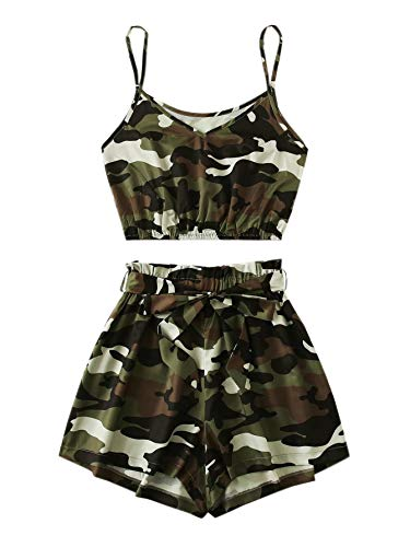 SweatyRocks Women's Suit Two Piece Outfits Sleeveless Camo Crop Cami Top and Shorts Set Army Green Medium for $<!--$15.99-->