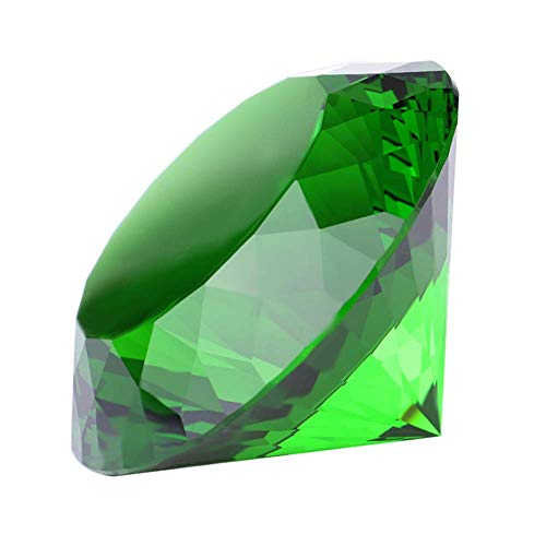 (Crystal Glass Diamond Shaped Decoration, Green 60mm Jewel Paperweight,Gift Decoration Idea for Christmas, Thanksgiving)
