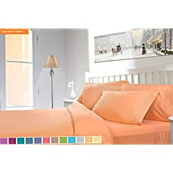 Mikash New Soft Premier 1800 Collection Deluxe Microfiber 3-Line Bed Sheet Set, Apricot Buff Orange, Cal King Size | Style 84597338