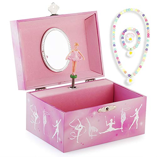 RR ROUND RICH DESIGN Kids Musical Jewelry Box for Girls and Jewelry Set with Gymnastics Girl Theme - Swan Lake Tune Pink (Box Gymnastic Music)