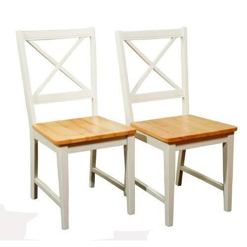 Target Marketing Systems Set of 2 Virginia Cross Back Chairs, Set of 2, White/Natural by Target Marketing Systems