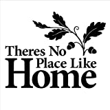 wuyyii Home Decoration Theres No Place Like Home Quote Vinyl Wall Art Sticker Wallpaper Removable Home Decoration Wall Art Mural 57X44Cm