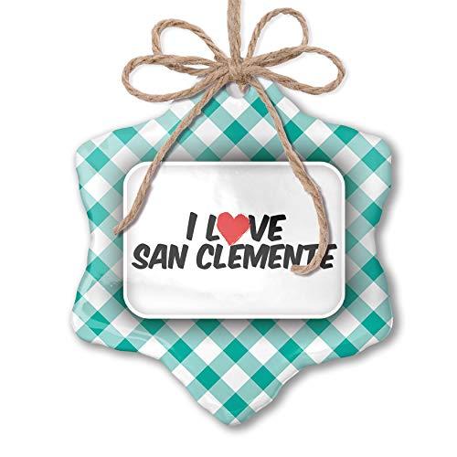 NEONBLOND Christmas Ornament I Love San Clemente Pastel Mint Green Plaid ()