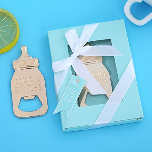 - Pack of 12 Baby Shower Return Gifts for Guest Supplies Poppin Baby Bottle Shaped Bottle Opener Wedding Party Souvenirs Decorations with Exquisite Packaging by WeddParty (Baby Bottle Blue 12pcs)