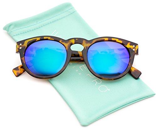 Vintage Inspired Mirror Lens Round Horned Rim Frame Retro - Sunglasses Aqs
