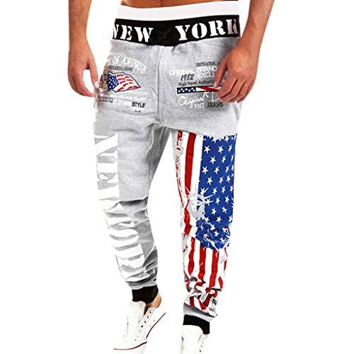 (ANJUNIE Mens Flag Print Joggers, Drawstring Elastic Waist Trouser Sport Sweatpants Long Pants(Gray,L))