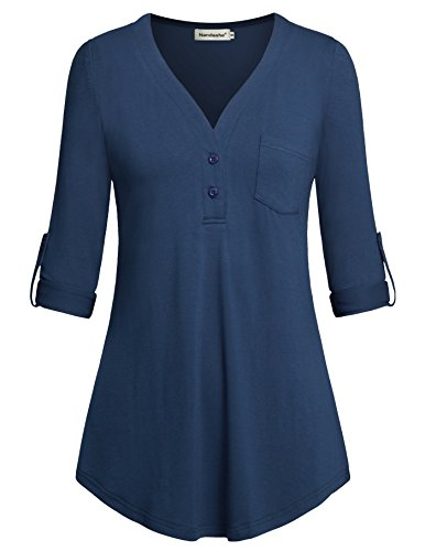 Nandashe Women Tunics, 3/4 Cuffed Sleeve Blouses Tops V Neck Button Shirts Blue (Sleeve Top Maternity Flutter)