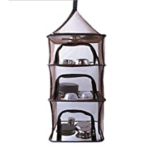4 Layer Drying Rack Net Hanging Collapsible Outdoor Storage Network with Zipper, Multifunctional Tableware Dishes Drying Hanging, Herb Drying Net Mesh Tray with a Carry Bag