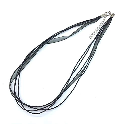Laliva Accessories - 10 pcs/Bag, Silk Organza Satin Ribbon Necklace Cord Wax Cotton Wire Necklace 45cm/18