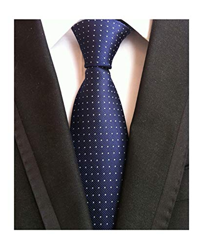 Fashion Navy Blue Neckties Pin Dots Silk Tie Suit Fitness Dating Fashion For - Sapphire Pin Bow