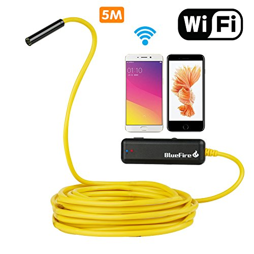 BlueFire Semi-rigid Flexible Wireless Endoscope IP67 Waterproof WiFi Borescope 2 MP HD Resolutions Inspection Camera Snake Camera for Android and iOS Smartphone, iPhone, Samsung, iPad, Tablet (16.4FT)