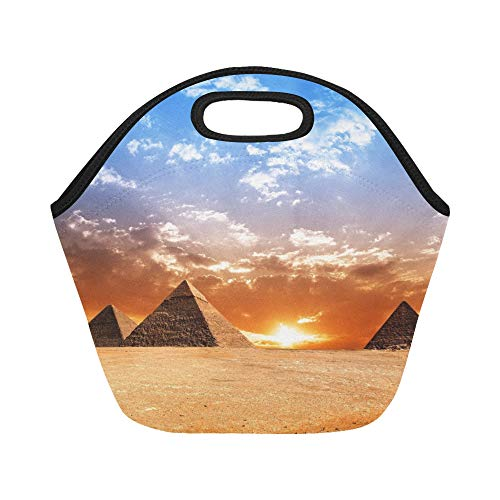 Insulated Neoprene Lunch Bag Egypt Pyramid Historic Buildings Panorama Large Size Reusable Thermal Thick Lunch Tote Bags For Lunch Boxes For Outdoors,work, Office, School