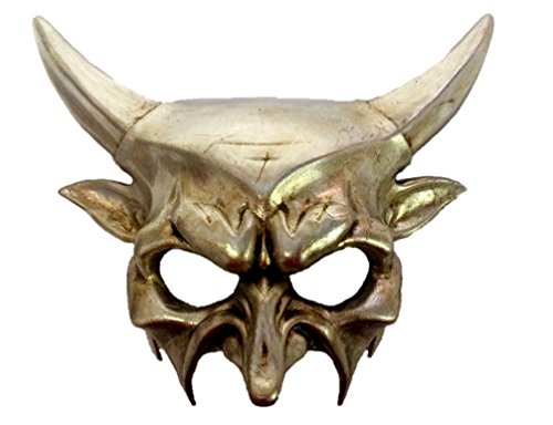 KBW Global Corp Silver Horned Devil Party Half Mask Adult Mens Venetian Demon Costume Accessory