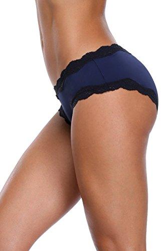 a39e56c45d8 Anfilia Womens Cotton Briefs High Cut Knickers Underwear Cotton Panties Lace  Hipster 4 Pack