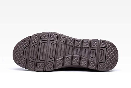 Color al de Negro 44 los Libre Hombres con de Principales de tamaño para Cordones los Hombres cómodos Cuero HhGold Aire Negro Mocasines Hombres los Ocasionales Redondos Zapatos FYwqxzB
