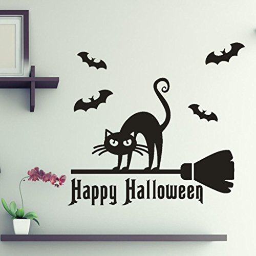 Snowfoller Ferocious Black Cat Wallpaper, Happy Halloween Scary Bone Wall Sticker Window Home Decoration Decal Decor ()