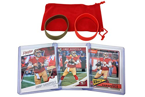 Jimmy Garoppolo Football Cards (3) Assorted Bundle - San Francisco 49ers Trading Card Gift Set