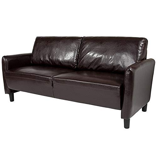 - Campton Contemporary Design Candler Park Upholstered Lounge Sofa in Brown Leathersoft | Model LNGCHR - 205