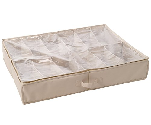 - STORAGE MANIAC Durable 12-Pair Underbed Shoe Organizer with Clear Cover and Secure Zipper Closure