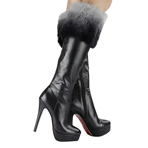 Zipper High Tube Heels Long Thin Side Boots BLACK 34 Warm Shoes High Women Leather Fashion Plush q4SFtxIt