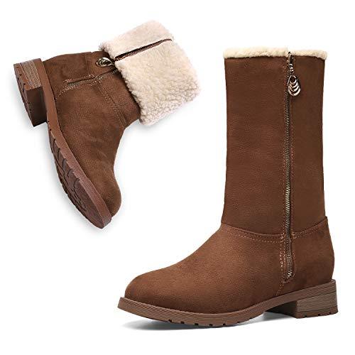 MEGNYA Women's Winter Short Boots Faux Suede Chunky Heel Booties 19NXME02-W23-7.5