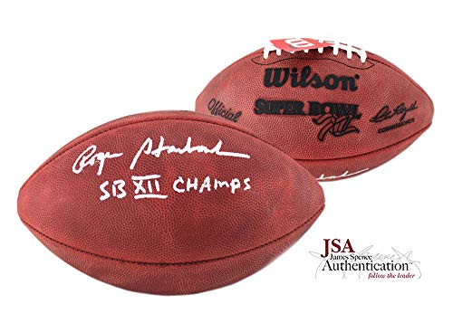 (Roger Staubach Autographed/Signed Official Wilson Authentic Super Bowl 12 NFL Football with