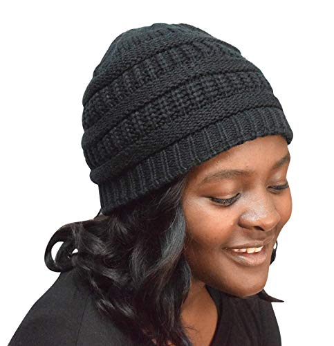 Always Eleven Satin Lined Knit Beanie Hat (Large/X-Large) (Black)
