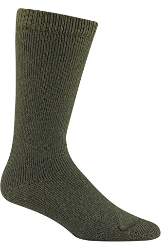 Wigwam Men's 40 Below Heavyweight Boot Socks, Olive, Large with a Helicase brand sock ring - Heavyweight Ski Sock