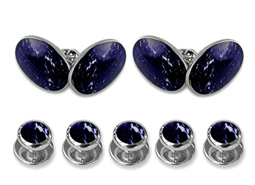 Sterling silver lapis double-sided large oval Cufflinks Shirt Dress Studs Gift Set