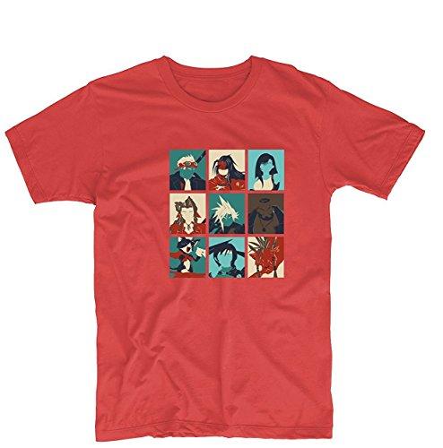 Toovee Men's Red Final Pop Final Fantasy VII POP Characters Final Fantasy 10 Design Tshirt