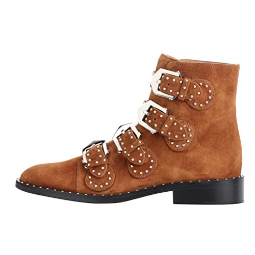 Themost Rivets Ankle Boots,Women's Leather Boot Rivet Studded Shoes Metal Buckle Low Heels Ankle Studded Booties