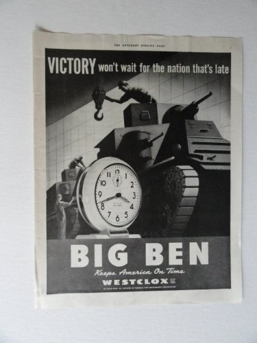 (Big Ben Westclox, 40's Print Ad. Full page Color Illustration, painting (tank,clock) Original Vintage 1942 the Saturday Evening Post Magazine Print art ***store link [www.amazon.com/shops/ads-thru-time])