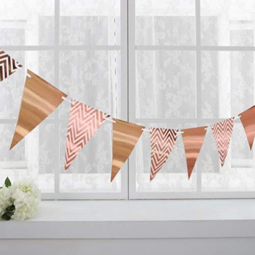 Chelsea Sparkly Paper Pennant Banner Triangle Flags Bunting Birthday Party Decorations Rose Gold ()