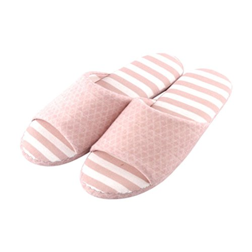 YUTIANHOME Slippers For Ladies Womens Stripe Washable Open Toe Non-Slip Flat Shoes Pink
