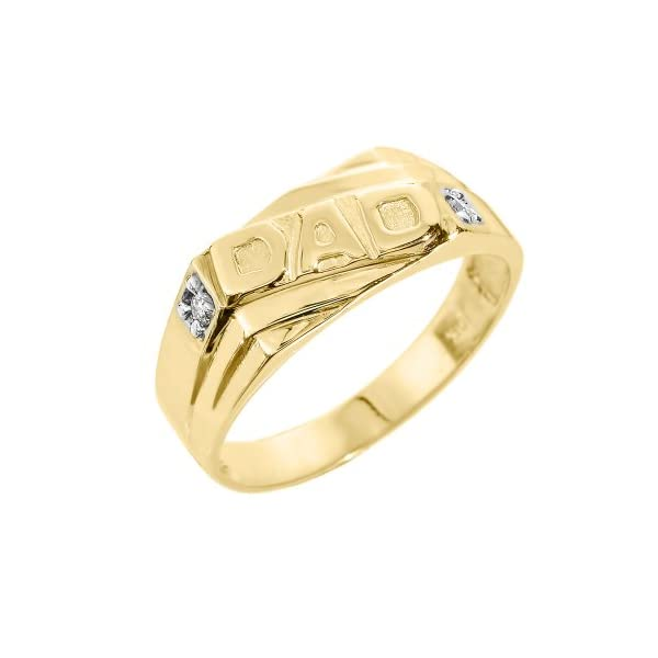Mens-10k-Yellow-Gold-Solid-Band-Diamond-Dad-Ring