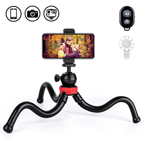 "Joyhill Phone Tripod, 12"" Flexible Tripod with Remote and Selfie Light Ring Compatible with iPhone/Android, Waterproof and Anti-Crack Vlogging Tripod for Camera and Action Camera"