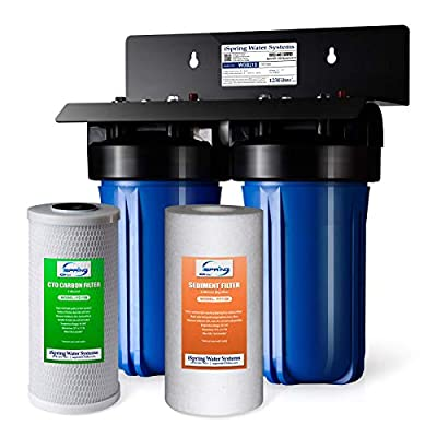 """iSpring WGB21B 2-Stage Whole House Water, 4.5""""X10"""" Big Blue, 1"""" Ports, 1-Set Filter Cartridge Included (Renewed)"""