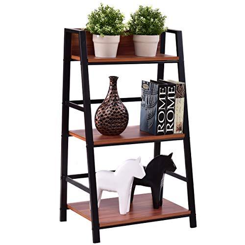 Tangkula 3-Tier Ladder Shelf Home Office Bookshelf Plant Display Stand Storage Shelves Multipurpose Corner Shelf Bookcase (Corner Leaning Shelf)