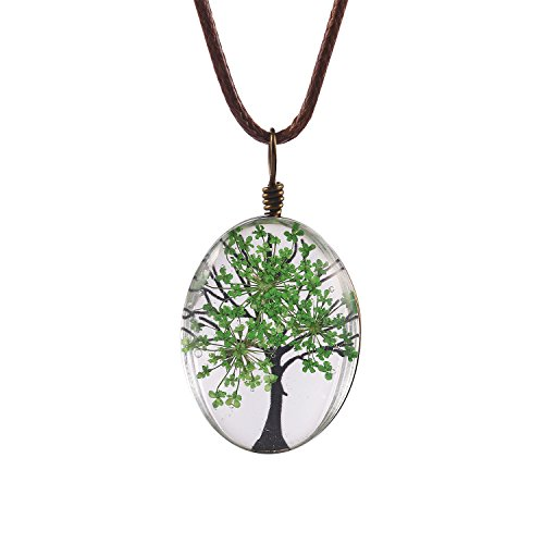 Glass Oval Necklace - FM FM42 Green Life of Tree Queen Anne's Lace Dried Flowers Oval Pendant Necklace FN4072